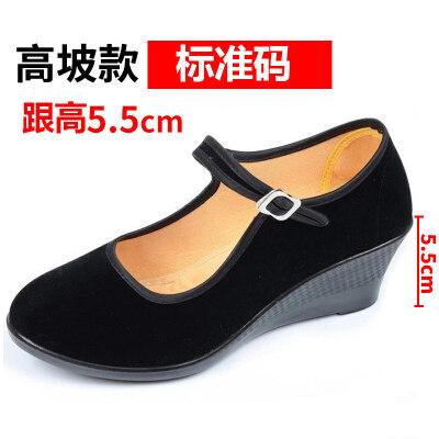 老北京布鞋女鞋平底工作鞋女黑色软底防滑跳舞鞋妈妈鞋酒店上班鞋