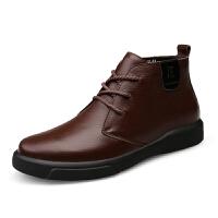 【专柜 头层牛皮】男鞋品牌透气男鞋男士百搭港风休闲鞋高帮透气短靴工装鞋