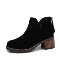 camel 骆驼女鞋 冬季新款 简约百搭方跟踝靴 时尚高跟磨砂短靴子女