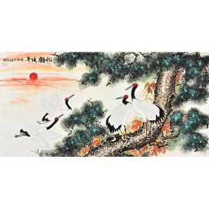 中国书画家协会会员     于袁坤《松鹤延年》HN5038