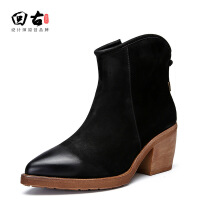 原创原创真皮女鞋欧洲站秋冬新款头层牛皮尖头粗跟高跟鞋短靴GH025 黑色