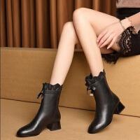 靴子女中筒靴春季中跟百搭圆头粗跟时装靴英伦风优雅白色中跟女鞋