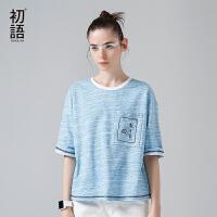 初语夏装新款 宽松短袖刺绣花混色舒适T恤女五分袖中袖