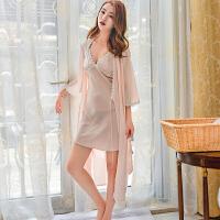 2018新款性感睡衣女士春夏天吊带睡裙短袖两件套装韩版秋冬季蕾冰丝绸睡袍