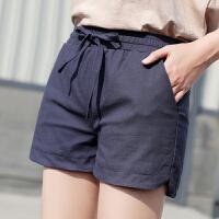 茉蒂菲莉 热裤 女士棉麻运动宽松时尚百搭休闲短裤女士薄款亚麻夏季新款韩版系带松紧腰裤子