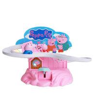 小猪佩琪爬上楼梯轨道车滑滑梯手动拼装玩具粉红佩佩奇猪