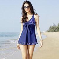 新款时尚女士泳装 女士成熟风性感裙式连体游泳衣 温泉加大保守显瘦遮肚泳装