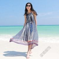 波西米亚海边度假夏雪纺宽松连衣裙露肩挂脖吊带沙滩裙中长款 笔刷式条纹 均码