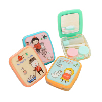 优家(UPLUS)清新可爱隐形眼镜收纳盒 可爱美瞳伴侣收纳盒 带镜子