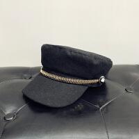 帽子女秋冬英伦复古毛呢贝雷帽八角帽时尚百搭平顶海军帽鸭舌帽潮 M(56-58cm)