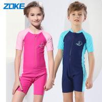 (新品)ZOKE洲克儿童连体平角泳衣短袖男童女童专业运动时尚游泳衣