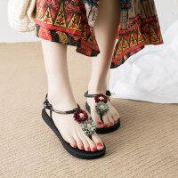 花朵凉鞋女夏2019新款平跟波西米亚民族风仙女鞋度假海边沙滩鞋女 txe-0014 红绿花