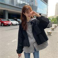 秋装韩版2019超火格子衬衣假两件宽松工装连帽长袖衬衫女