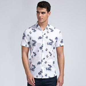 才子男装(TRIES)短袖衬衫 男士2017年新款植物花卉简约清透时尚短袖衬衫