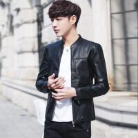 男士皮衣立领机车服潮流修身型韩版个性帅气薄款皮夹克男春秋外套 黑色