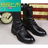 新品上市英伦马丁靴高帮皮鞋男靴冬季中筒皮靴短靴内增高工装靴作战靴