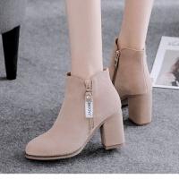 2019新款女鞋秋冬女靴高跟鞋裸靴粗跟靴子短靴女春秋 驼色加绒 35