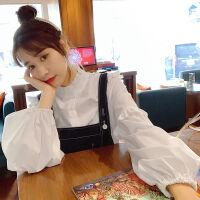 春秋装灯笼泡泡袖上衣韩版宽松木耳边长袖白色衬衫女学生 白色