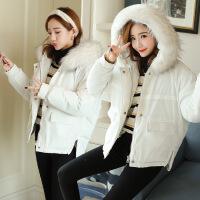 2018新款冬装外套ins面包服女短款韩版宽松毛领棉袄羽绒加厚 白色 S