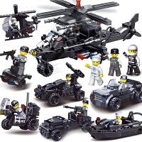 兼容乐高男孩积木特警益智拼装儿童玩具飞机警察模型6-8-10-12岁1