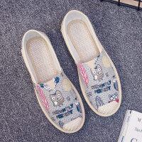 帆布鞋女春季一脚蹬平底老北京布鞋女休闲透气渔夫韩版懒人单鞋子