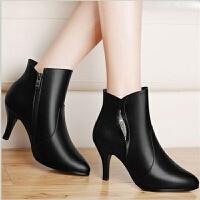 2019春秋新款单鞋女靴高跟鞋水台细跟女士皮鞋尖头短靴中跟冬鞋