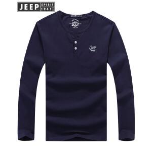 JEEP吉普男士长袖T恤舒适高纯度棉质运动打底衫纯色圆领长袖t恤户外运动套头衫