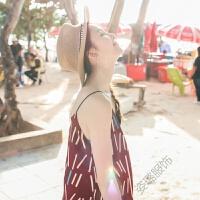 2018夏季新波西米亚吊带裙印花竖条纹连衣裙中长裙海边度假沙滩裙 酒红色