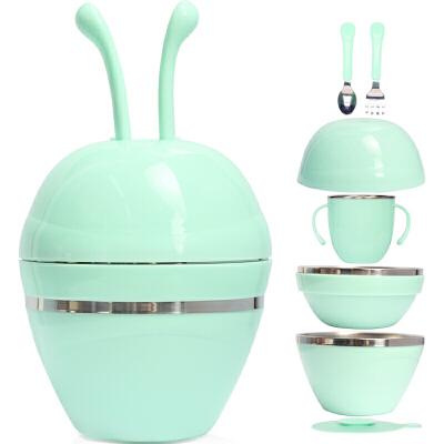 儿童便携餐具保温碗饭碗带盖婴儿碗勺套装辅食碗宝宝吸盘碗不锈钢