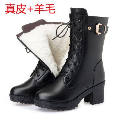 靴子女冬加绒中筒靴羊毛马丁靴女短靴高跟女士棉皮鞋粗跟军靴 B款 +羊毛 靴筒高20cm