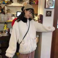 秋冬女装韩版宽松百搭圆领毛绒仿羊羔毛加厚保暖开衫上衣外套学生 米白色 均码