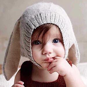 Yinbeler萌系儿童帽子秋冬防寒保暖可爱兔耳朵婴儿针织毛线帽
