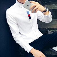 青少年衬衫男长袖修身韩版潮流青少年帅气新款男士衬衣春款男