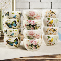 Evergreen加深加厚印花陶瓷碗 量贩4件装面碗汤碗 景德镇水果碗