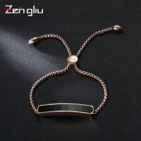 ZENGLIU欧美时尚手链女 镀玫瑰金黑色个性日韩版闺蜜流行手绳饰品