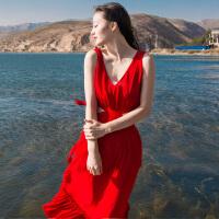 原创夏装性感露背雪纺吊带大摆显瘦连衣裙马尔代夫海边度假沙滩长裙仙GH04 红色