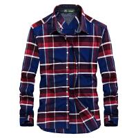 798170秋装新款战地吉普AFSJEEP纯棉尖领长袖衬衫 男士商务休闲格子衬衫