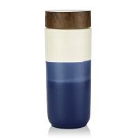 乾唐轩活瓷杯晨曦之美木纹盖随身杯创意陶瓷水杯杯子情侣礼物