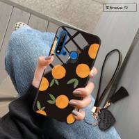 华为手机壳Nova5玻璃壳Nova5Pro同款水果ins潮鸭梨Nova5i个性创意 Nova5i 黑底橘子
