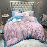 【人气】猫咪卡通进口双面天丝四件套床单被套被子1.8m冰丝床上用品夏季