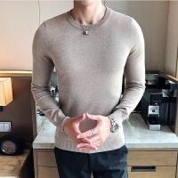 2018新款秋冬季圆领毛衣男士针织衫青年韩版修身打底套头线衣潮流