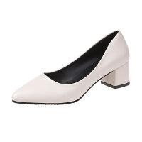 鞋子女夏红色尖头浅口中跟粗跟女鞋韩版女士鞋百搭工作鞋5CM单鞋
