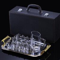 十二生肖酒杯 十二生肖白酒杯分酒器套装12只小酒杯家用水晶玻璃酒具一口杯 +收纳托盘