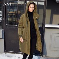 【到手价:537元】Amii极简时尚保暖90白鸭绒连帽羽绒服女2018冬新款宽松长款面包服