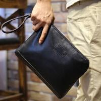 男士手包时尚手拿包软皮手抓包商务大夹包手机包信封包 黑色