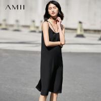 【会员节! 每满100减50】Amii[极简主义]2017夏新小黑裙系列细吊带直筒雪纺连衣裙11742369
