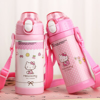 hello kitty儿童女童保温杯带吸管水杯不锈钢小学生保温瓶女杯子