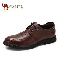 骆驼牌男鞋 新品日常休闲男皮鞋牛皮系带舒适低帮鞋男
