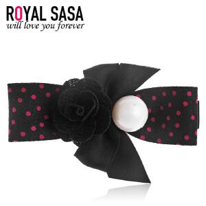 皇家莎莎RoyalSaSa韩国时尚发夹布艺蝴蝶结边夹子波点发饰发卡刘海夹一字夹头饰