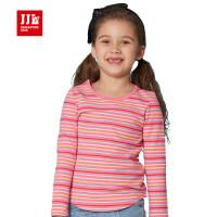 jjlkids季季乐童装女童t恤长袖纯棉春2016新品时尚儿童条纹T恤GCT62002